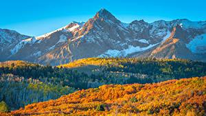 Фото Штаты Гора Пейзаж Осенние Colorado Природа