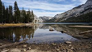 Фотографии США Горы Камень Озеро Парк Калифорнии Йосемити Природа