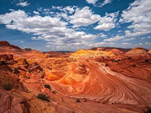 Картинка США Каньоны Скала Облака Pariah Marble Canyon, Arizona