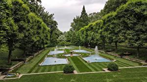 Фотография Америка Парки Фонтаны Дизайна Газон Деревьев Пенсильвания Longwood Gardens, Kennett Square