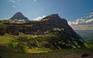 Фотографии США Парки Холмы Скалы Glacier National Park Природа