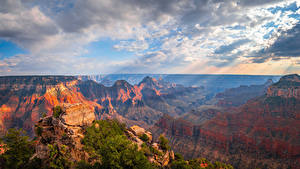 Фото Америка Парк Гранд-Каньон парк Каньона Скалы Облака Лучи света Arizona