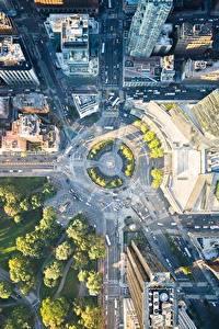 Картинка Штаты Парк Здания Дороги Нью-Йорк Сверху город