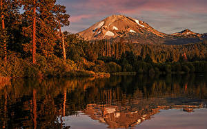Фотография Штаты Парки Озеро Осень Горы Леса Отражение Lake Manzanita Lassen Volcanic National Park Природа