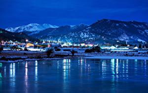 Фото США Парк Озеро Горы Зима Снег Ночью Estes Park Colorado Природа Города