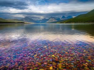 Картинки США Парки Озеро Горы Облака Lake McDonald, Glacier National Park