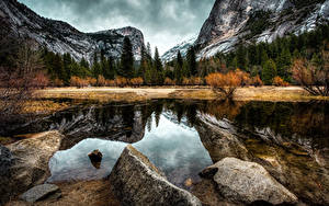 Картинки Америка Парк Гора Осень Леса Озеро Камни Пейзаж Калифорния Йосемити Природа