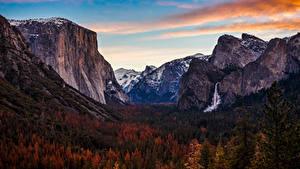 Обои Штаты Парк Гора Леса Осень Водопады Йосемити