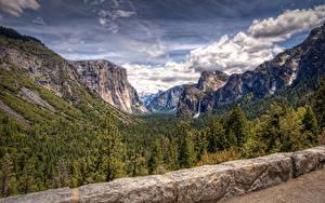 Картинки Штаты Парки Горы Леса Водопады Пейзаж Калифорния Йосемити Облако Природа