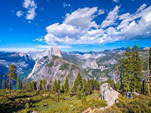 Фото Штаты Парк Горы Йосемити Облака Дерева Скала Калифорнии Glacier Point Природа