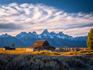 Картинка США Парки Горы Облака Grand Tetons National Park