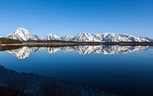Фотографии США Парки Гора Озеро Отражение Grand Teton national Park, Wyoming