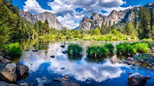 Фото США Парки Гора Речка Камни Пейзаж Калифорния Йосемити Утес Облака Природа