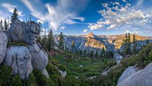 Картинки Америка Парк Гора Пейзаж Йосемити Скале Дерева Калифорния Glacier Point