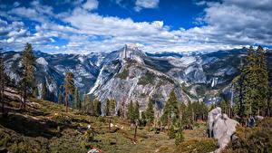 Фотографии США Парки Гора Пейзаж Небо Калифорния Йосемити Утес Дерево Облака Glacier Point