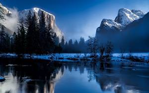 Фотографии Америка Парки Гора Пейзаж Йеллоустон Снег Скала Тумане Wyoming