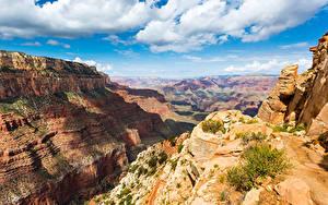 Фотография Штаты Парки Горы Небо Пейзаж Гранд-Каньон парк Облачно Каньона Природа