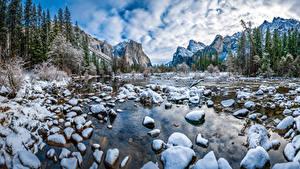Фото Штаты Парки Горы Камни Зимние Пейзаж Йосемити Снег