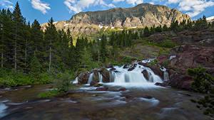 Обои для рабочего стола США Парк Горы Водопады Скале Дерева Glacier National Park Природа