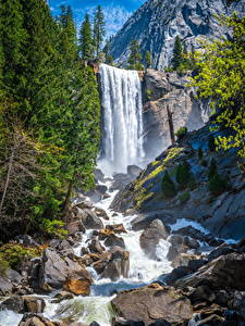 Обои для рабочего стола Америка Парк Горы Водопады Камень Йосемити Утес Калифорния Природа