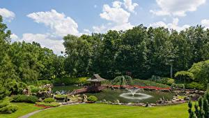 Картинка США Парки Пруд Фонтаны Деревьев Газоне Donald M. Kendall Sculpture Gardens Природа