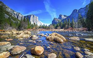 Обои Америка Парк Речка Камень Гора Лес Пейзаж Йосемити Калифорния