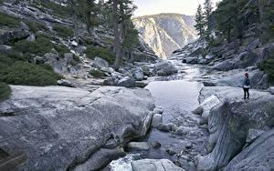 Фото США Парки Реки Камни Йосемити Калифорнии