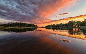 Фото США Парки Реки Рассветы и закаты Небо Chatfield State Park Colorado