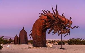 Картинка США Парк Скульптуры Змеи Калифорнии Serpent Statue Anza-Borrego Desert State Park