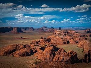 Фотография США Парки Небо Скале Облачно Monument Valley Природа