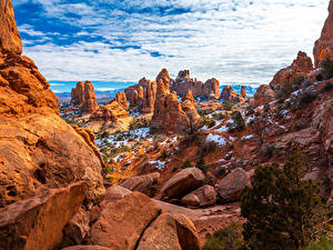 Фото США Парки Камни Скала Облако Arches National Park