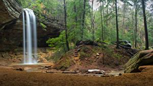 Фото США Парк Водопады Лес Скалы Hocking Hills Ohio Природа