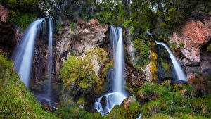 Фото Штаты Парк Водопады Скале Траве Rifle Falls State Park Colorado Природа