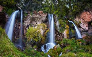 Фото Штаты Парк Водопады Скале Траве Rifle Falls State Park Colorado