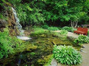 Картинки США Парки Водопады Скамья Winslow Illinois Природа