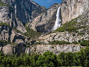 Фотография Штаты Парки Водопады Йосемити Скала Природа