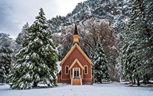 Фотографии Штаты Парки Зима Здания Йосемити Ели Деревья Снег Природа