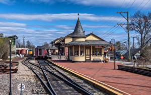 Картинка Штаты Железные дороги Пенсильвания Рельсах New Hope Station город