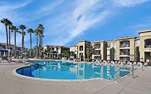 Фото Штаты Курорты Здания Калифорнии Плавательный бассейн Пальма San Jose