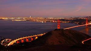 Картинки Штаты Реки Мосты Вечер Сан-Франциско Города