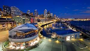 Фотография США Сиэтл Причалы Дома Ночь Города