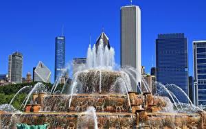 Фотографии Штаты Небоскребы Фонтаны Парки Чикаго город Illinois, Buckingham Fountain, Grant Park город