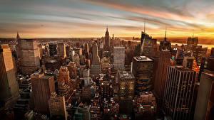 Картинка Штаты Небоскребы Дома Манхэттен Нью-Йорк Мегаполиса Города