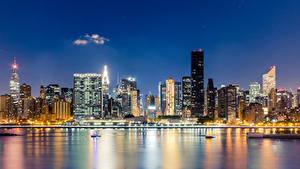 Обои США Небоскребы Дома Нью-Йорк Ночные Манхэттен Midtown East River Города