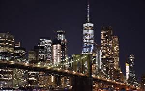 Фото США Небоскребы Манхэттен Нью-Йорк Ночные Мегаполис Города
