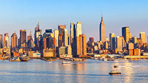 Картинки Штаты Небоскребы Пристань Побережье Нью-Йорк город