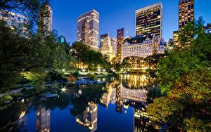 Фотографии Штаты Небоскребы Парк Нью-Йорк Ночью Манхэттен Central Park город