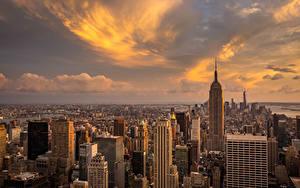 Фото США Небоскребы Небо Манхэттен Нью-Йорк Мегаполис Города