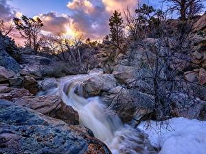 Картинки Штаты Камень Реки Скала Деревья Thumb Butte, Prescott, Arizona