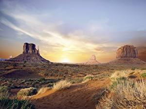 Обои для рабочего стола США Рассвет и закат Скала Arizona, Monument valley, Colorado plateau Природа